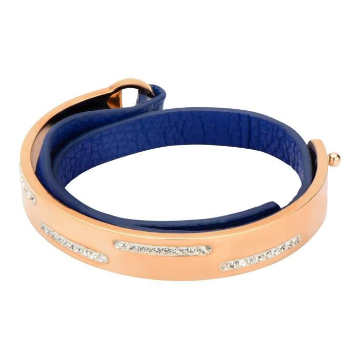 Womens Rose Gold-plated W- White Crystal & Blue Leather Bracelet F2M1V