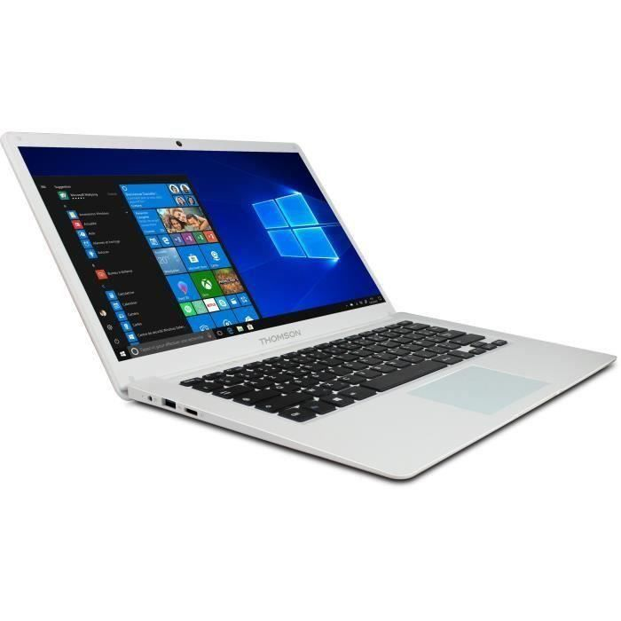 THOMSON PC Portable - 14'' HD - Intel Quad Core - RAM 4Go - Stockage 64Go SSD - Windows 10S - Blanc