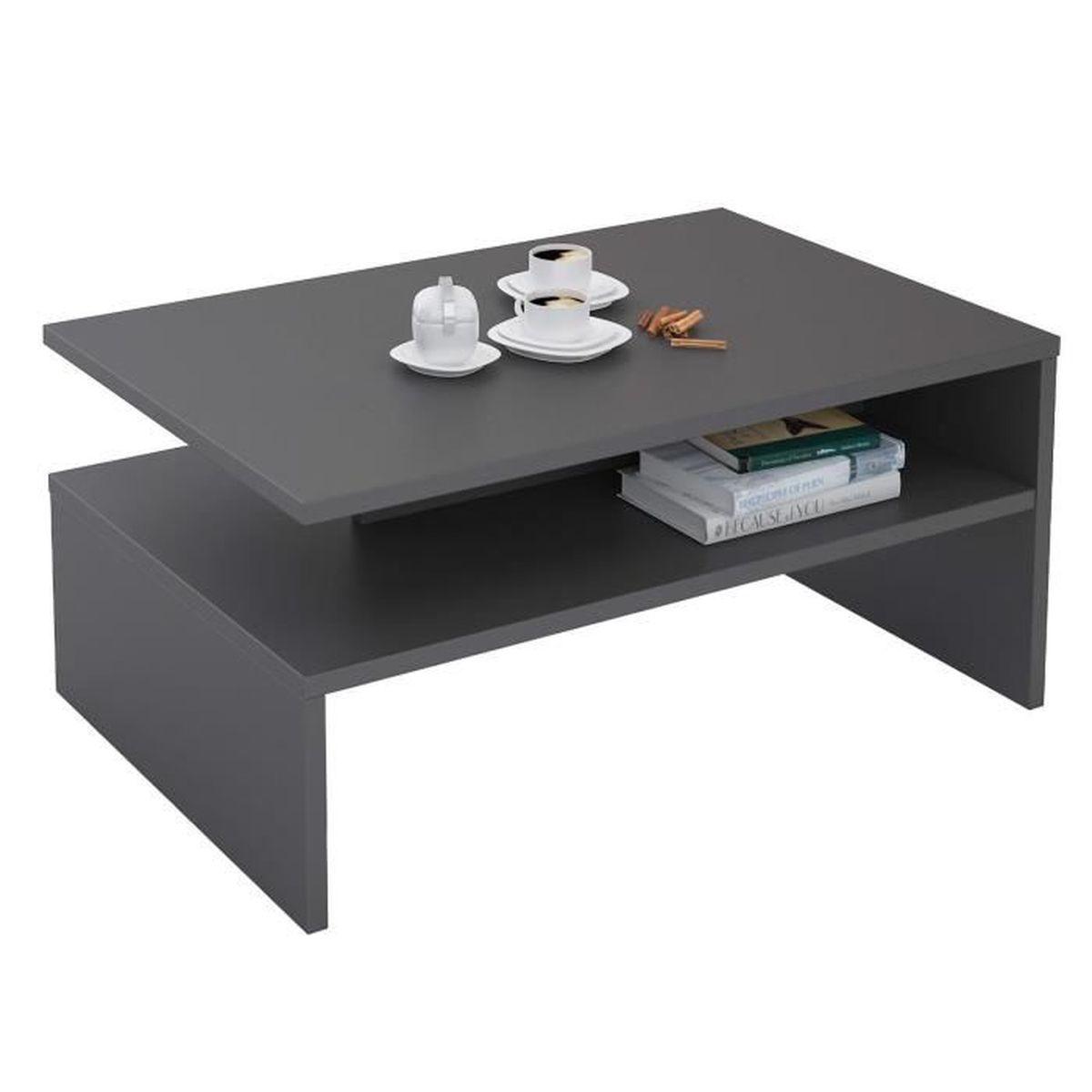 Table basse de salon rectangulaire avec rangement mélaminé décor