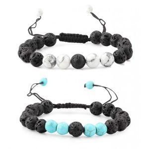 Milacolato 4-6 Pcs Hommes Femmes Cristal Bracelet Bijoux Pierre Naturelle Yoga Bracelet Perles R/églable 8 MM
