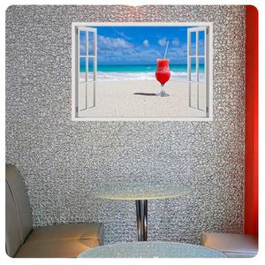TABLEAU - TOILE Cocktail On The Beach Fake 3D Window IMPRIMER Sur