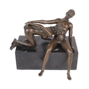 STATUE - STATUETTE Statue érotique en bronze et marbre femme et homme