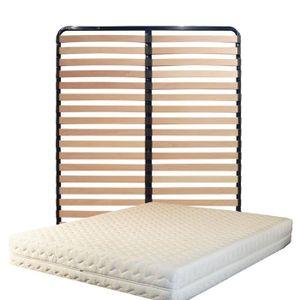 ENSEMBLE LITERIE Matelas 140x200 + Sommier Démonté + pieds + Protèg