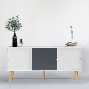 BUFFET - BAHUT  Buffet Effie scandinave bois blanc et gris