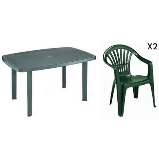 Table rectangulaire verte + 2 fauteuils jardin plastique ...