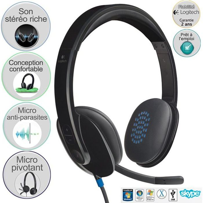 Logitech casque filaire USB Stereo - H540