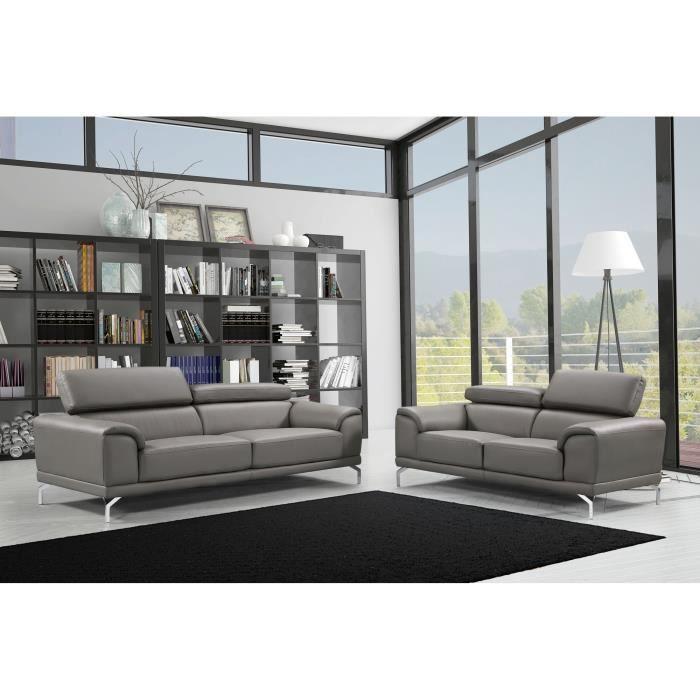 Ensemble canapé design contemporain 3+2 simili cuir gris