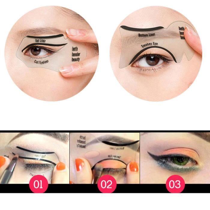 PINCEAUXDEMAQUILLAGE 1 paire de guides d'eye-liner de chat modèles de pochoirs d'eyeliner d'outil de maquillage rapide facile