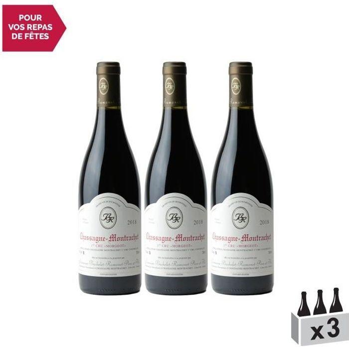 Chassagne-Montrachet 1er Cru Morgeot Rouge 2018 - Lot de 3x75cl - Domaine Bachelet-Ramonet - Vin AOC Rouge de Bourgogne - Cépage