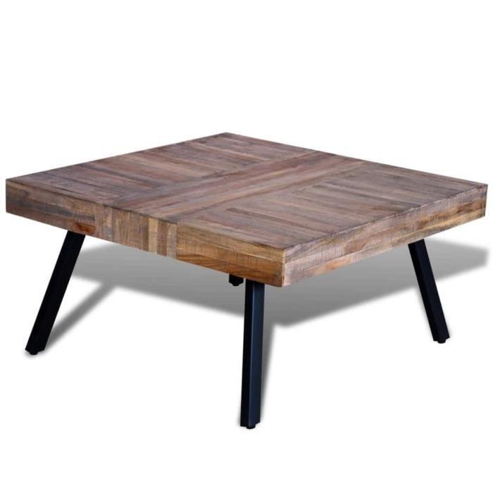 Table basse carrée Bois de teck de récupération-QIM