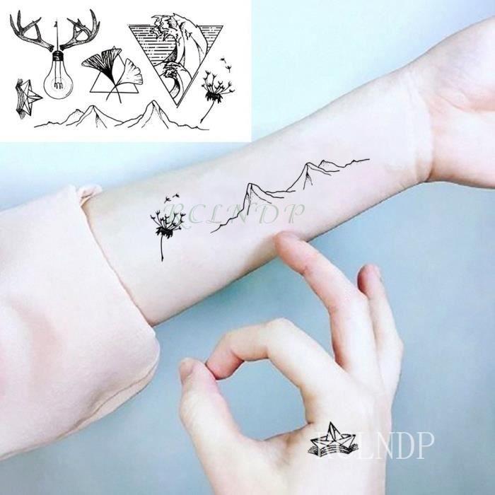 Tatouage Temporaire, Monochrome,Autocollant étanche montagne ampoule colline Triangle faux Tatto Flash Tatoo main arrière pied