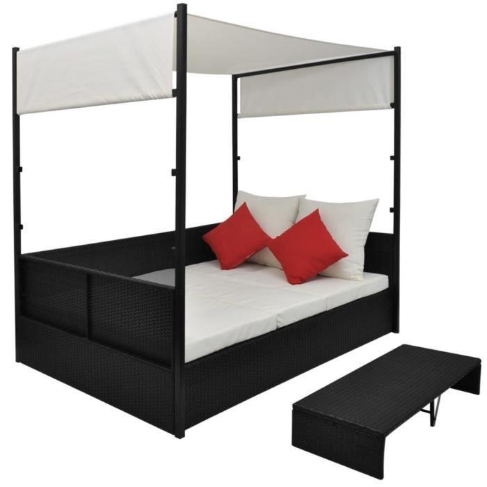 Top Ventes Lit de jardin Lit de camping - Chaise longue avec auvent Noir 190x130 cm Résine tressée FR5127R