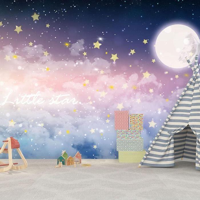 8D Fantaisie Dégradé Ciel Étoilé Chambre D'Enfants Fond Papier Peint Rose Mural Nuage Canapé Chevet Lune Papier Peint-350 * 245C164