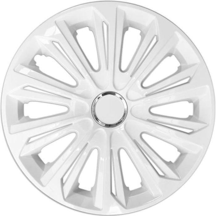 Enjoliveurs de roues STRONG laqués blanc 15 - lot de 4 pièces
