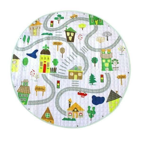 Tapis d'éveil,Tapis ronds bébé tapis de jeu jouets organisateur de stockage pépinière tapis grand - Type Travel Road-150cm