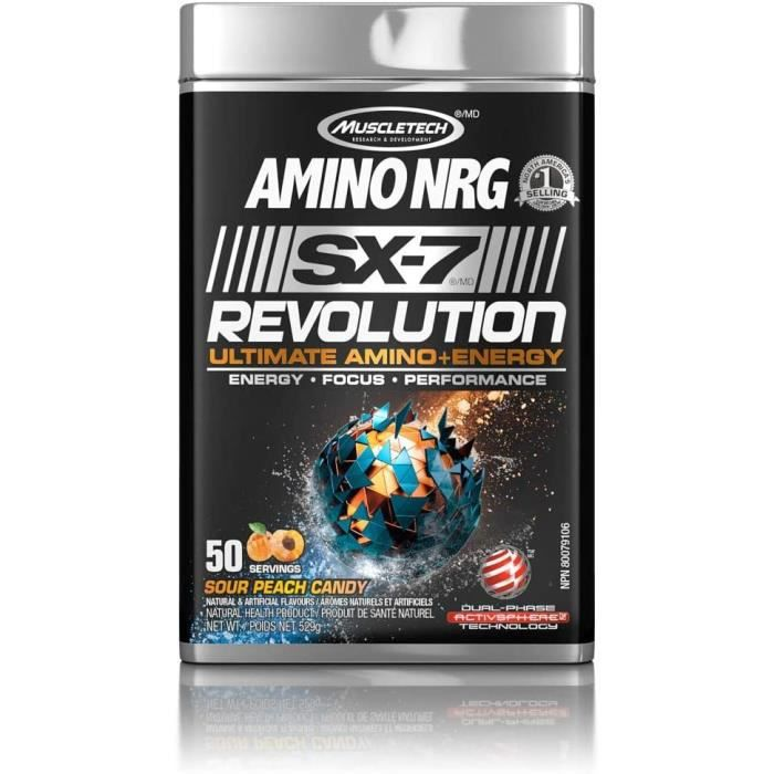 MUSCLETECH Amino Nrg Sx7 Revolution Ultimate Energy Sour Peach Candy 50 Servings 529 g 387