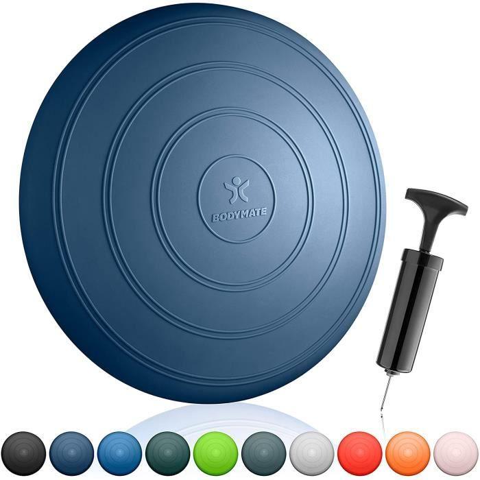 BODYMATE Coussin d'équilibre Comfort Ø33cm + Pompe Incluse - Coussin Gonflable pour Core Training, Fitness, rééducation