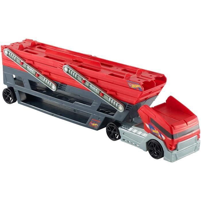 VEHICULE MINIATURE ASSEMBLE ENGIN TERRESTRE MINIATURE ASSEMBLE Hot Wheels M&eacutega Transporteur rouge et noir, camion pour 256