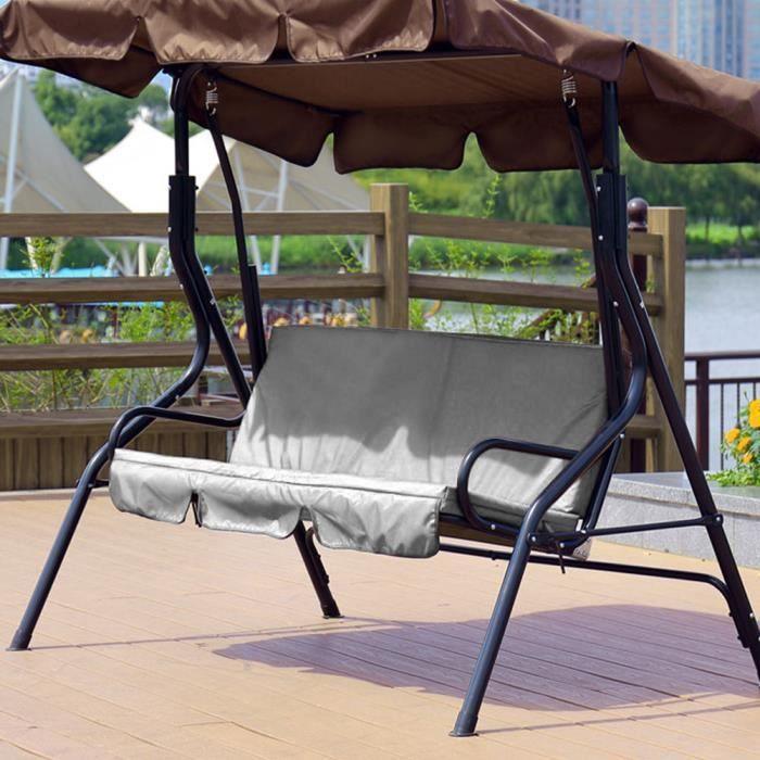 3 places Housse de balançoire étanche chaise Hamac protection extérieur (gris)-YUN