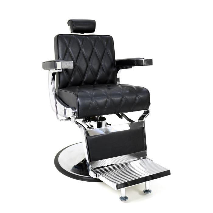 Fauteuil barbier Pietro Simili-cuir Noir, Beautélive - Equipement coiffure