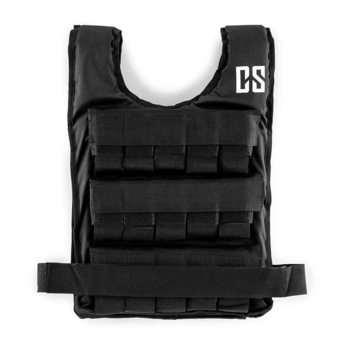 CAPITAL SPORTS Veste lestée de 10kg de poids pour entraînement fitness & endurance - Taille unique - Sangle ajustable - Nylon noir