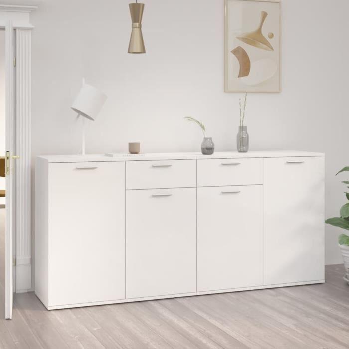 Buffet Blanc brillant 160x36x75 cm Aggloméré - 31630