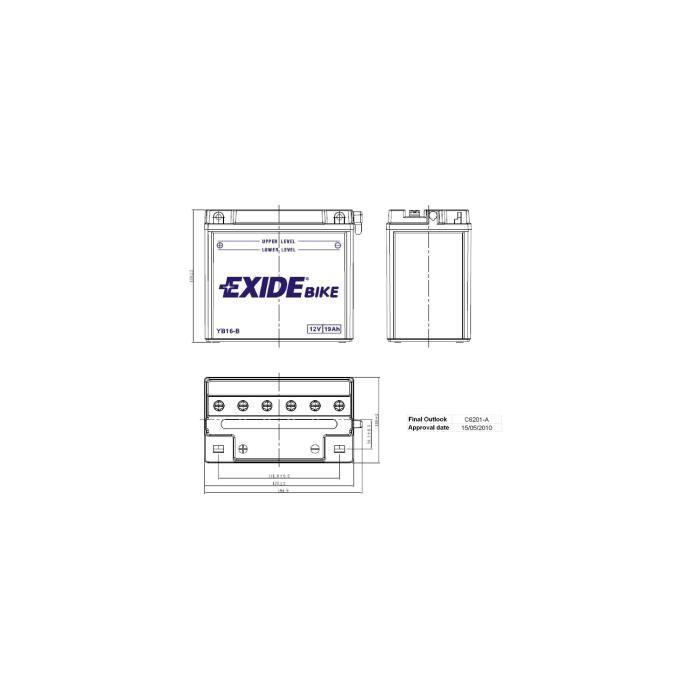 Batterie Jet Ski YB16-B 19 Ah EXIDE