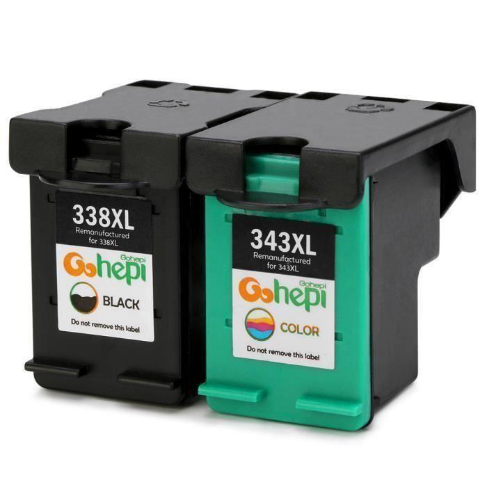 Cartouches d encre HP PSC 2355 - Compatible avec HP 338 et 343 XL Noir - Tri-couleur