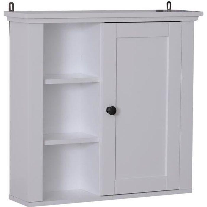 Armoire haute murale de salle de bain ou WC placard 1 porte 3 étagères latérales dim. 53L x 15l x 51H cm MDF panneaux particules