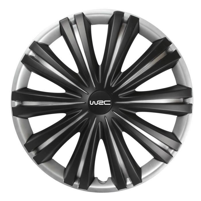 WRC 4 Enjoliveurs 16 Pouces Noir Mat Gris