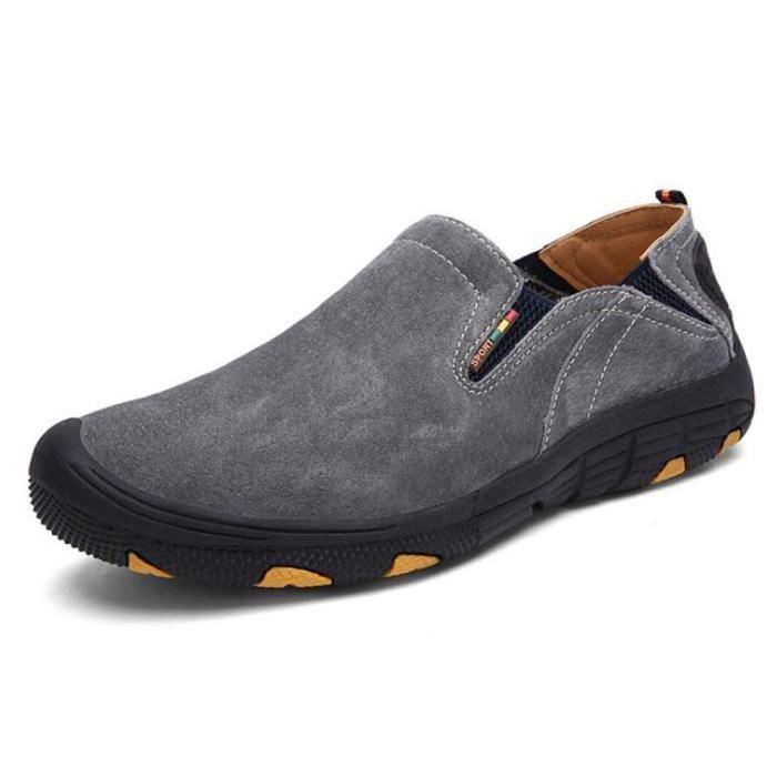 Chaussures Homme Randonnée Suédé Marche Confort Gris