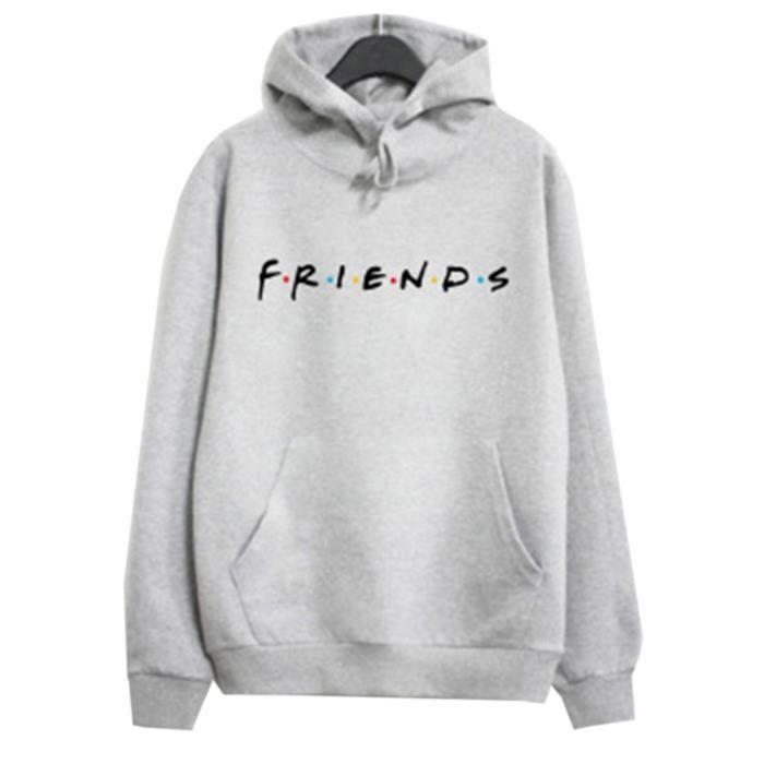 Pull à lettre imprimée FRIENDS-Gris