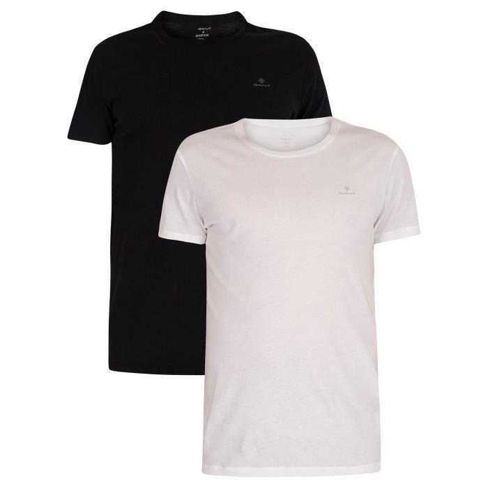 Gant Pour des hommes Lot de 2 t-shirts à col rond Lounge, Noir