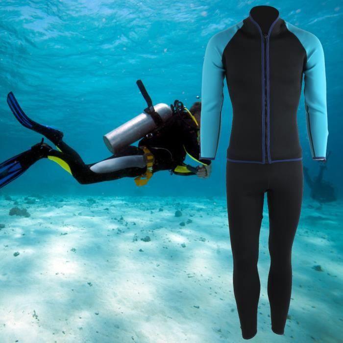 Combinaison en deux pièces pour adultes de 2 mm accessoires de plongée en apnée Surf(noir (M) ) -COU-YUW