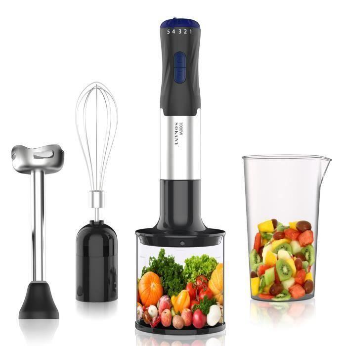 Mixeur Plongeant 1000W, 4 en 1 Mixeur Multifonction, Convient à la Préparation d'aliments pour Bébés,Salades, Soupes et légumes,Jus