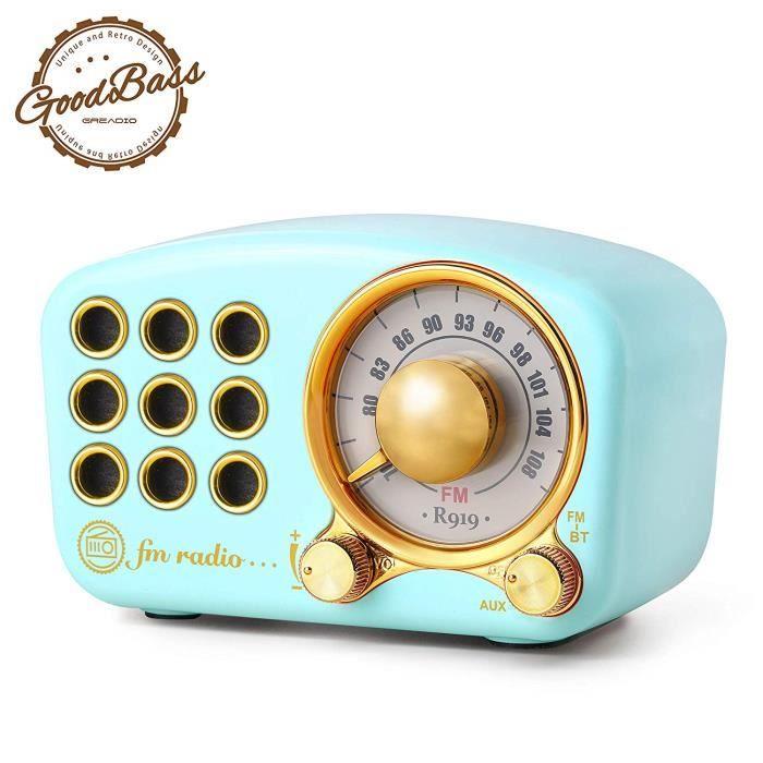 Radio Portable Vintage, Haut-Parleur Bluetooth rétro, Radio FM en Bois de Noyer avec Style Classique, Carte AUX TF et Lecteur MP3 Bl