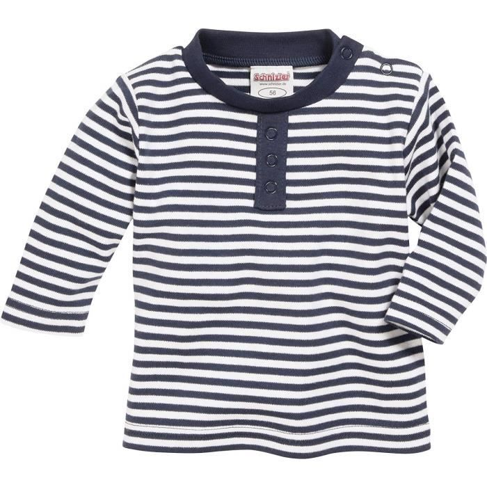 Schnizler Langarmshirt Marine geringelt, Oeko-Tex Standard 100, Sweat-Shirt Mixte bébé, Bleu (Marine/weiß), 74 - 813007-171
