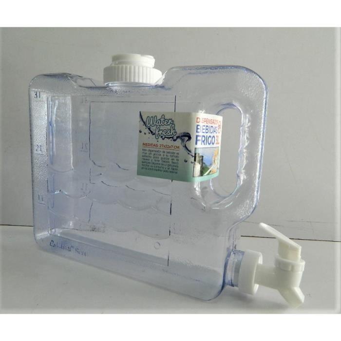 jerrican bidon alimantaire à robinet eau plastique transparent cristal 3 litres camping randonnée