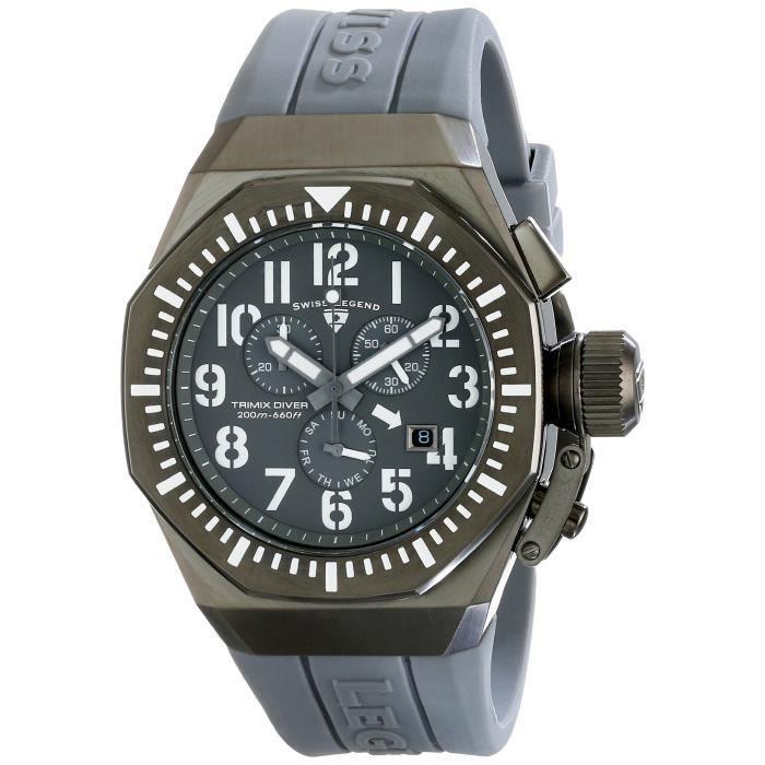 SWISS LEGEND 10540-g-014-wa Trimix chronographe cadran gris gris montre en silicone AM9Z2