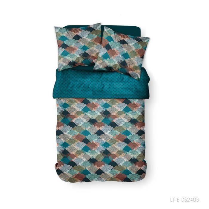 Parure de lit 2 personnes 220X240 Coton imprime bleu Graphique SUNSHINE