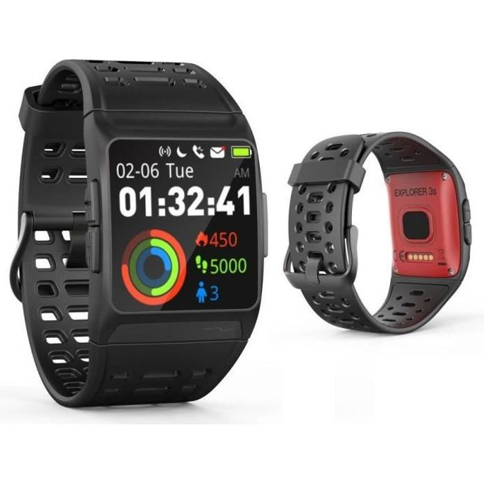 WEE PLUG Explorer 3s Montre Connectée - GPS - Cardio - Bluetooth - Multisports - IP68 - Noir/Rouge