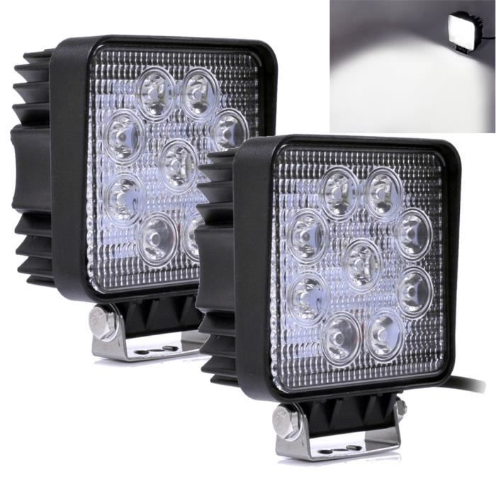 Willpower Phare de Travail LED Barre LED 12V 27W 10cm Projecteur LED Voiture Etanche IP67 Spot Feux Antibrouillard LED Feux de Travail pour 4x4 Moto Voiture Camion Tracteur SUV Bateau Carr/é