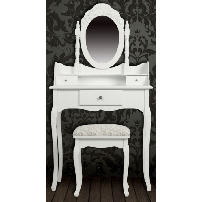 magnifique coiffeuse blanche siege avec miroir inclus. Black Bedroom Furniture Sets. Home Design Ideas