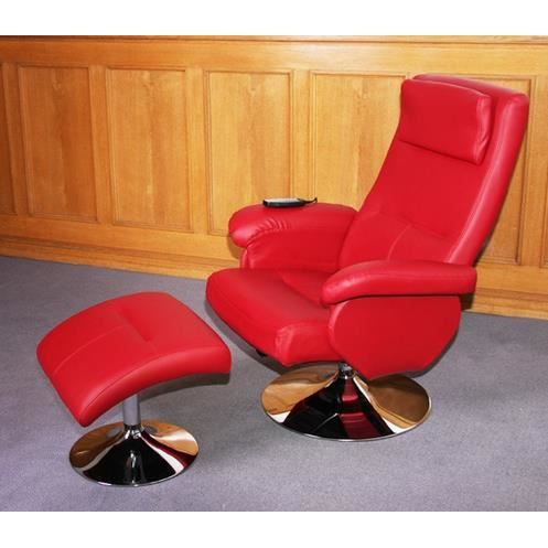 fauteuil relaxation massage cuir rouge achat vente fauteuil cuir simili cdiscount. Black Bedroom Furniture Sets. Home Design Ideas