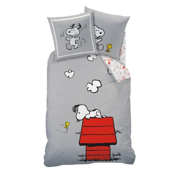 housse de couette snoopy 1 place 1 taie d 39 oreiller 100 coton achat vente housse de. Black Bedroom Furniture Sets. Home Design Ideas
