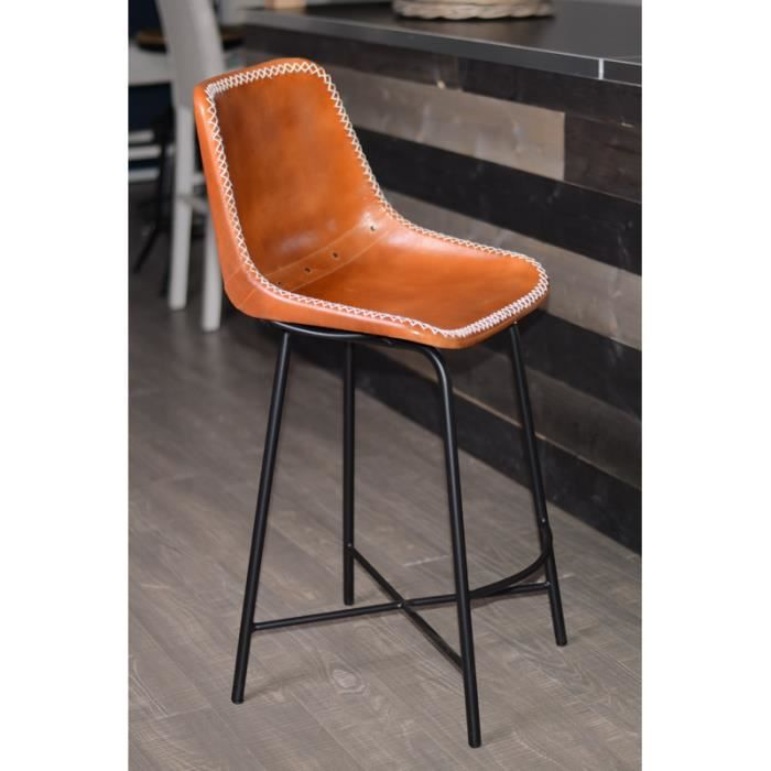 Chaise de bar industrielle cuir et metal dublin pictures - Chaise de bar style industriel ...