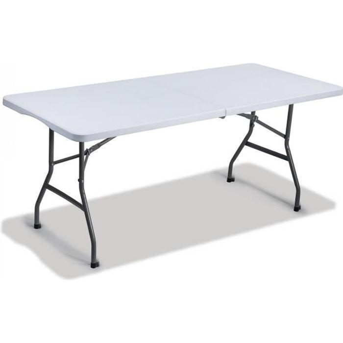 TABLE DE JARDIN EN PLASTIQUE - PLIABLE 180x75 cm - Achat ...