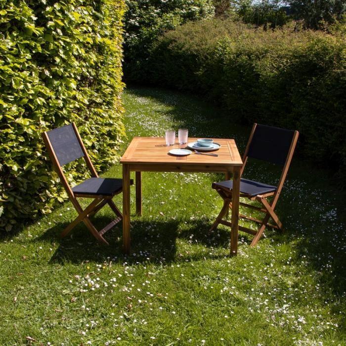 Salon de jardin carré en bois d\'acacia FSC noir 2 places BDBD