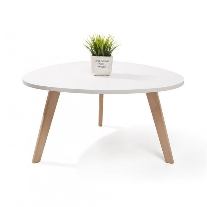 Alta table basse scandinave blanc 80x42cm nordique galet for Table basse 3 pieds