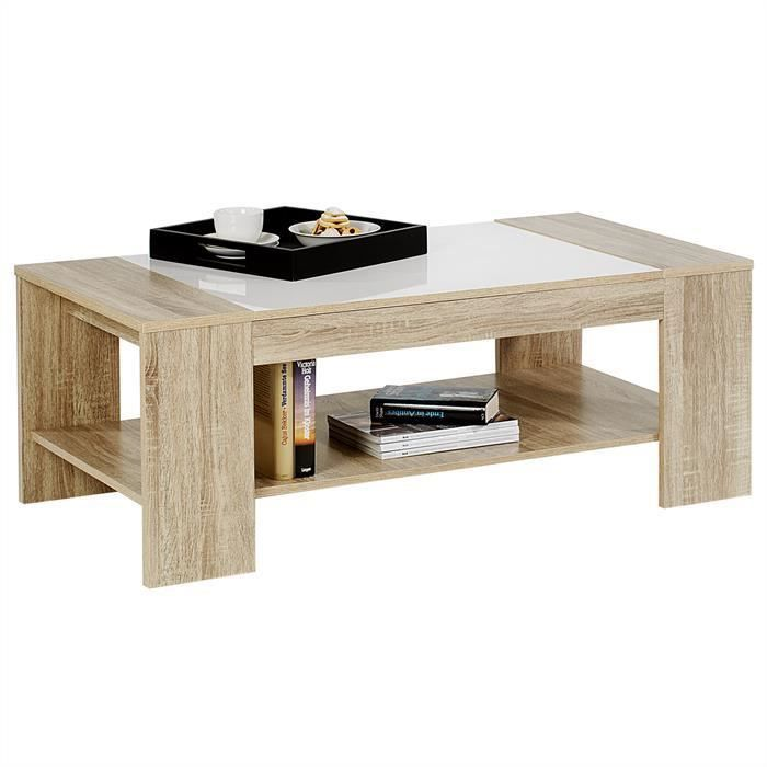 Table basse novo d cor ch ne sonoma et blanc brillant for Table basse blanc et chene